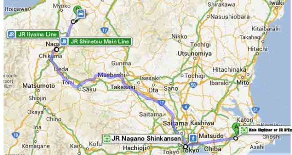 Tokyo to Nagano and Nozawa Onsen Map