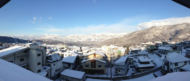Beautiful day in Nozawa Onsen. Views from Villa Nozawa roof top