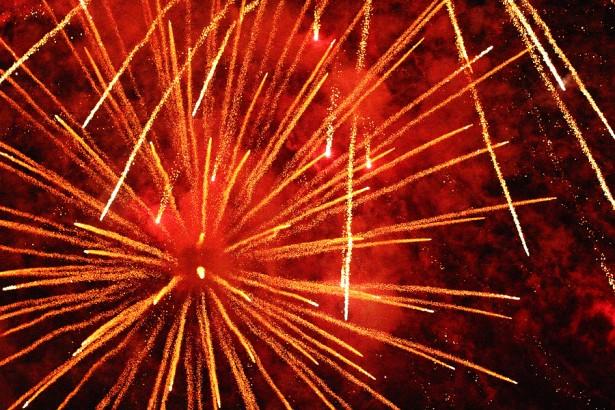 Nozawa Onsen fire festival fireworks.