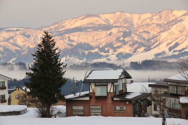 Morning glory in Nozawa Onsen looking across to Togari Resort