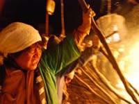 Men fighting at the Nozawa Onsen Fire Festival