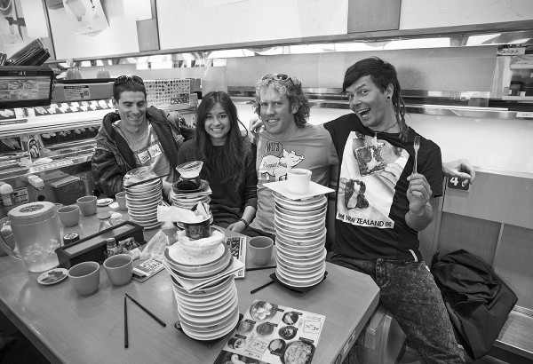 Sushi train locals Lucas, Tia, Jules and Jerry putting on an impressive performance. Jules took the number one spot with 23 plates.