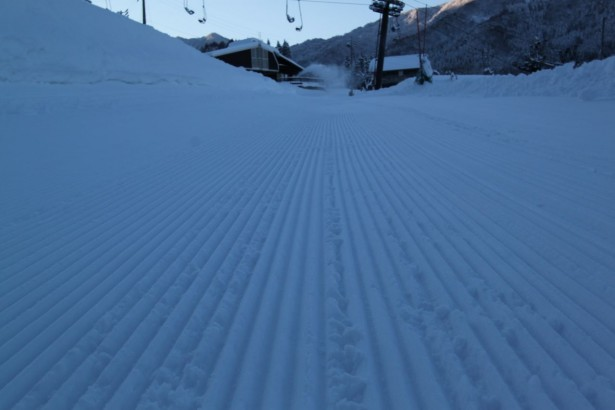 The only thing better than fresh corduroy lines  is fresh powder lines