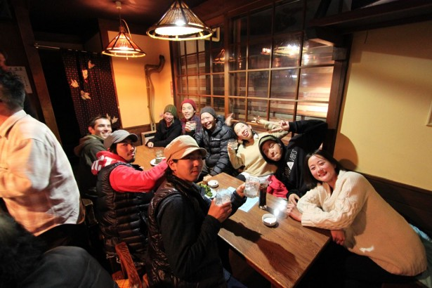 Some of Japan's top free style skiers call Nozawa home. Kicking back after a photo shop