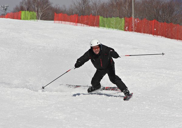 A skier comes unstuck in challenging conditions.