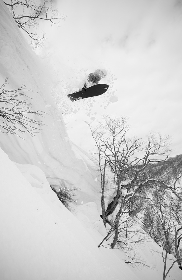 Lucas drops one of the biggest cornices on the mountain.