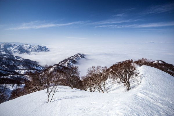 The sea of cloud as viewed from the summit yesterday.